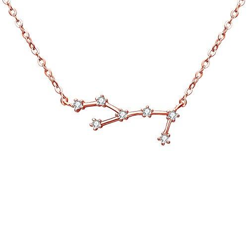Collares Mujer - Clearine Serie de Constelación Colgante Plata 925 Tono Oro Rosa Horóscopo Exclusivo para Regalo Boda Novia