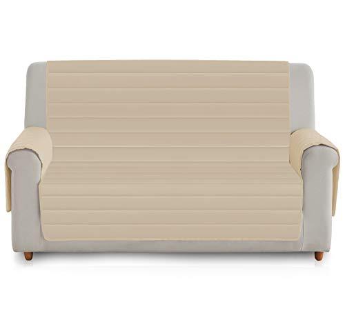 Vipalia Funda de Sofa Acolchada Viscoelastica. Protector Cubresofa Reversible. Comoda Descanso Adaptable Ergonomica. Alivio Lumbar Espalda. Diseño Patente Mundial. Color Beige, 3 Plazas
