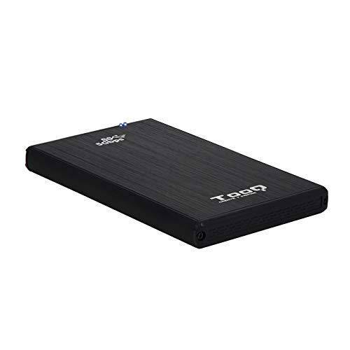 """TooQ TQE-2522B - Carcasa para Discos Duros HDD de 2.5"""", (SATA I/II/III de hasta 9.5 mm de Alto, USB 3.0), Aluminio, indicador LED, Color Negro, 50 grs."""