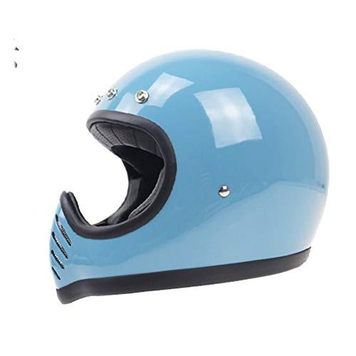 Handgemachter Retro Motorradhelm Retro Integralhelm Nostalgie Style, 123, blau, L(59