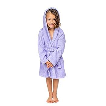 BAGNO MILANO Kids - Unisex Hooded Soft Terry%100 Turkish Cotton Bathrobe Girls - Boys Cotton Robe Made in Turkey  Purple Small/Age 3-5
