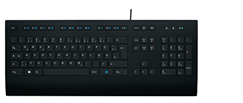 Logitech K280e Pro Kabelgebundene Business Tastatur für Windows, Linux und Chrome, USB-Anschluss, Handballenauflage, Spritzwassergeschützt, PC/Laptop - schwarz