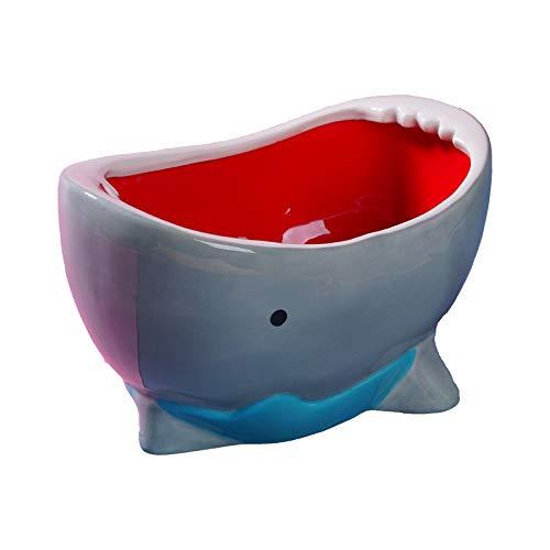 SuperB Ceramic Popcorn Bowl, Baby Shark Cereal Candy Bowl Handcraft For Peanut M&Ms, Key Bowl Holder, or for Succulent Plant, Holiday Gift Under $50