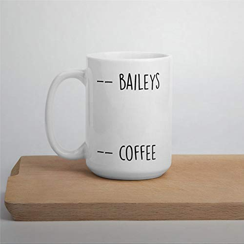 Baileys and Coffee Mug - Taza de té de cerámica de 445 ml para hombres y mujeres