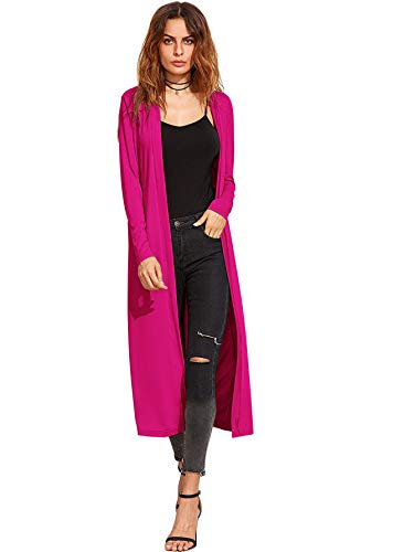 Verdusa Women's Long Sleeve Open Front Long Cardigan Duster Coat Hot Pink S