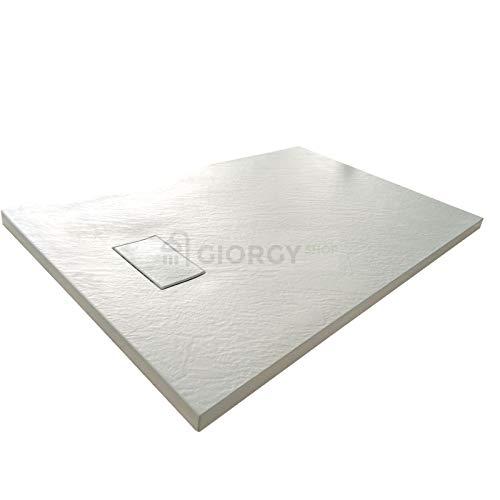 Piatto doccia 80x140 Bianco H.2.6 cm effetto pietra ardesia SMC in resina termoformata.