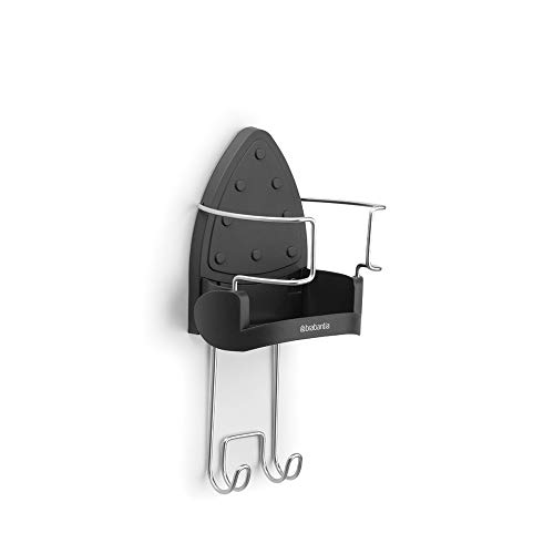 Brabantia 385742 - Soporte de pared para plancha y tabla de planchar, color cromo/negro, negro y gris, acero inoxidable