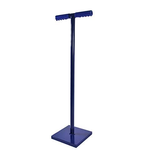 HELO Erdstampfer Betonstampfer aus Stahl 15 kg mit 2-Hand T-Griff, Handstampfer zum Verdichten mit 21x21 cm großer und 40 mm starker Grundplatte, Höhe: 80 cm, Gewicht: 15 kg, Farbe: Blau