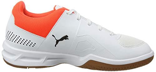 PUMA Unisex Kids Auriz Jr Handball Shoes, White-Black-Nrgy Red-Gum, 1.5 UK