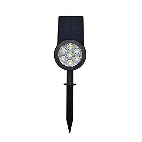 Lámpara de césped insertada con luz Solar El Cambio de Color de 7 LED se Puede Fijar al Aire Libre Proyector de Paisaje Jardín Patio Lámpara de Pared Negro, Uniquelove