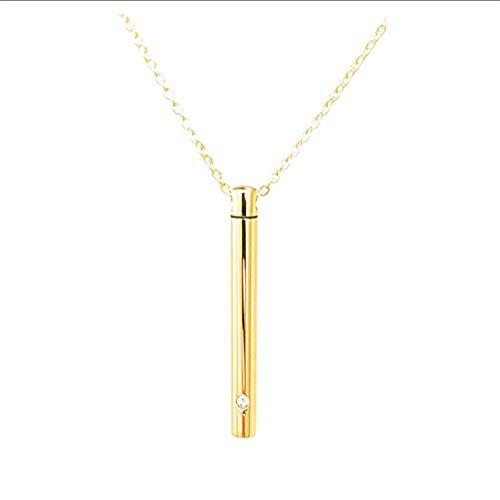 nobrand Titan Stahl Diamant Parfüm Flasche Anhänger zylindrische Aschenbecher Halskette Haustier Halsband Brautschmuck (Color : Golden)