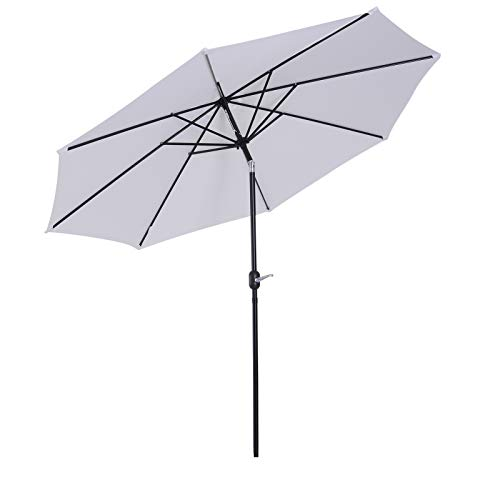 Outsunny Parasol en Aluminium Rond Polyester 180g/m² manivelle inclinable Ø 3 x 2,45 m Blanc