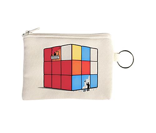 Solving The Cube Funny Cheating Petit Porte-Monnaie Portefeuille avec Porte-clés Beige One Size