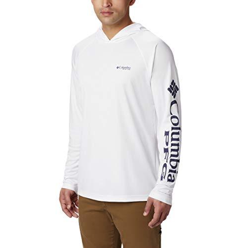 Columbia Men's PFG Terminal Tackle Fishing Hoodie, Breathable, UV Sun Protection, White/Nightshade Logo , Medium