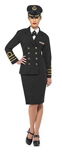 Smiffy's Costume d'officier de la marine, femme, noir, veste, jupe, fausse chemise et coi S