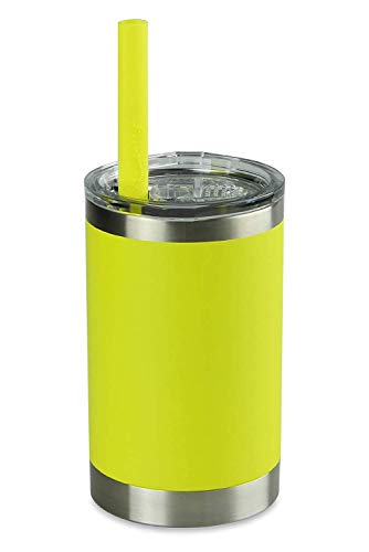 Housavvy Sippy Cups for Toddlers,Powder Coated Stainless Steel Cups with Easy Cleaning BPA Free Tritan Lid and Silicone Smoothie Straw for Kids Toddlers,Dishwasher Safe and Leak Proof,11 Oz,Yellow