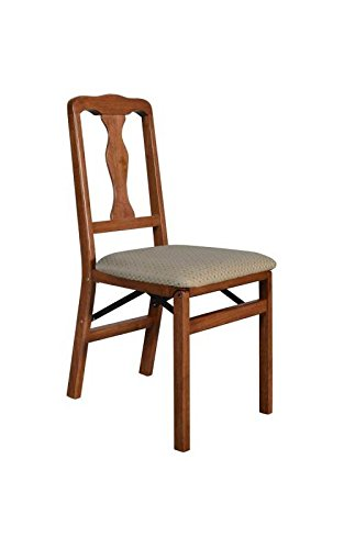 Stakmore Queen Anne Wood Folding Chairs with Upholstered Seat - Set of 2 Color - Cherry