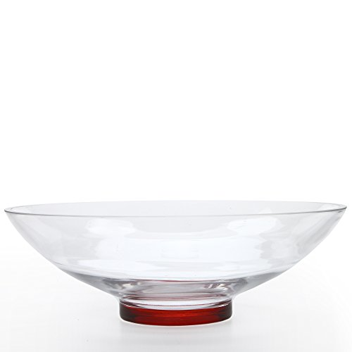 Hosley's Clear Glass Bowl with Red Bottom, 11.8