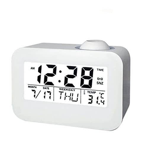 Yousiju Pantalla LCD digital de proyección de hora de techo Snooze escritorio Mesa Reloj de control de voz Transmisión de voz Calendario perpetuo