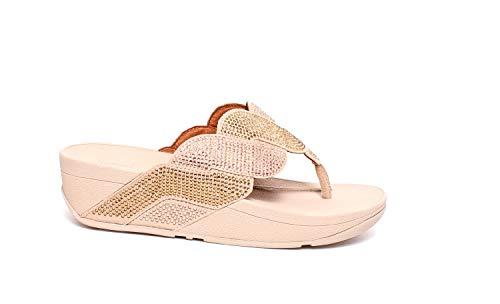 Sandalias de cuña de Mujer FitFlop Entre Dedo con Tachuelas en Oro (Ropa)