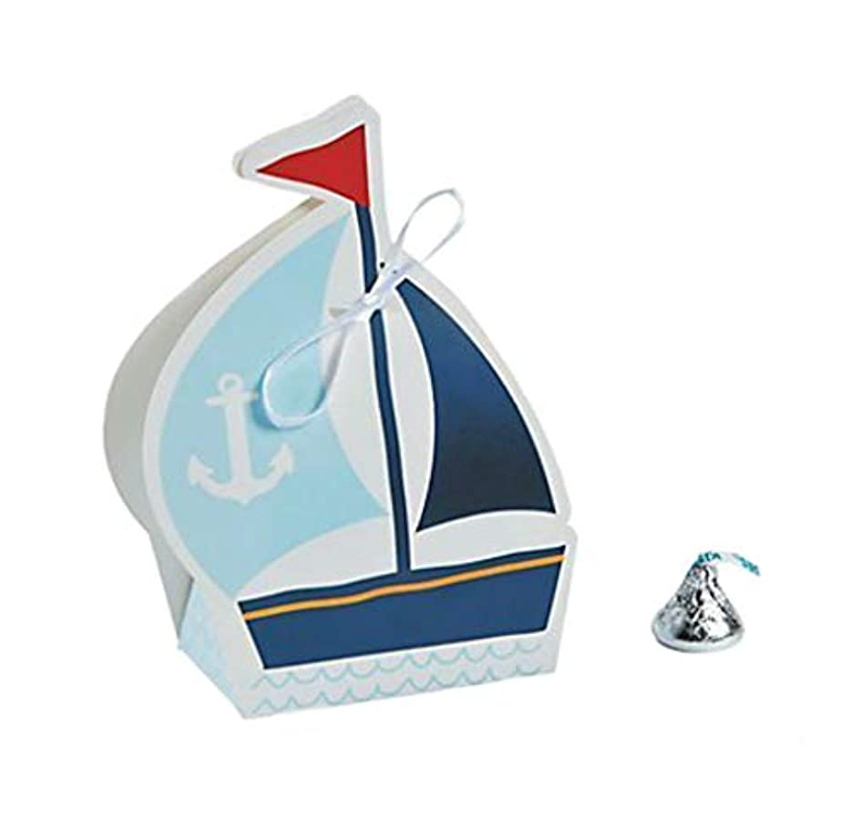 Nautical Sailor Sailboat Party Favor Boxes | (24 Count)