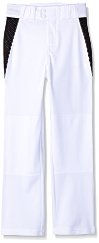 Rawlings Youth Relaxed Fit V-Notch Insert Baseball Hose, weiß mit schwarzem Einsatz, Youth Large