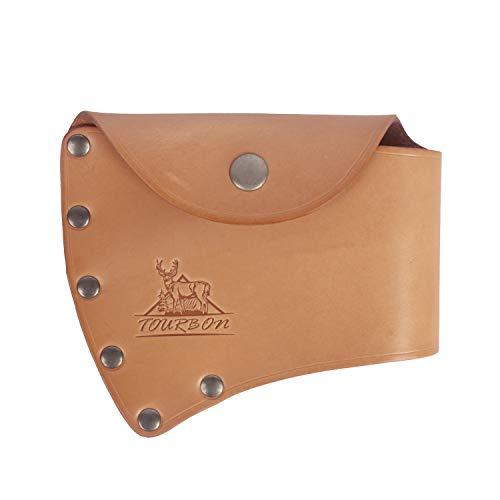 TOURBON Axtkopf-Einzhelholster aus Leder mit Gürtelschlaufe, Beilscheide, Klingenschutz