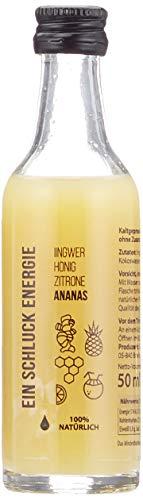 EIN SCHLUCK  ENERGIE MIT ANANAS - Ginger Energy Shot mit Ingwersaft , Honig, Zitronensaft, Ananassaft und Kokoswasser, pasteurisiert, 5 Glasflaschen x 50 ml