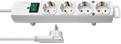 Brennenstuhl Comfort Line regleta de enchufes con 4 tomas de corriente para montaje (cable de 2 m, interruptor iluminado, montable, enchufe plano) blanco