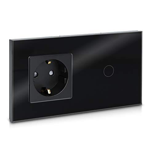 Navaris Touch Lichtschalter mit Schuko Steckdose - mit Glasrahmen - Design Glas Touchschalter einfach - Wandschalter Schalter Schwarz