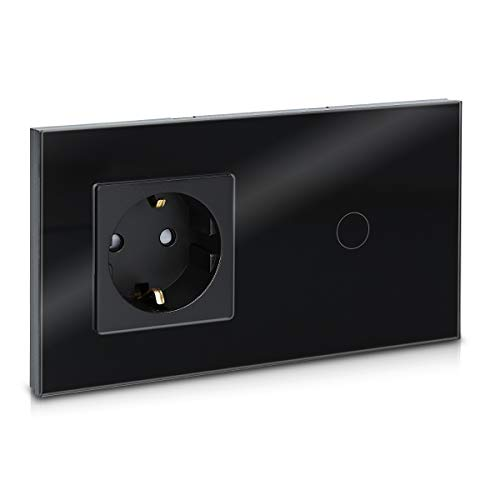 Navaris Interruptor táctil con enchufe para pared - Marco de cristal doble con enchufe e interruptor para luz con pulsador LED - Empotrable en negro