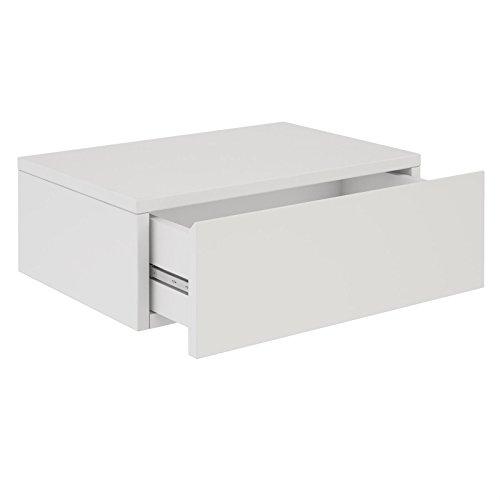 CARO-Möbel Wandregal Anne hängende Nachtkommode Wandboard Nachttisch mit 1 Schublade schwebend, grifflos, in weiß