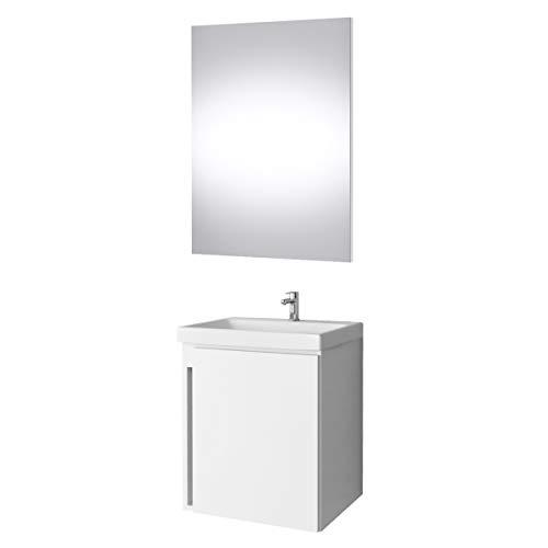 Planetmöbel Waschtisch Badmöbel Set 50cm für Badezimmer WC (Weiß)