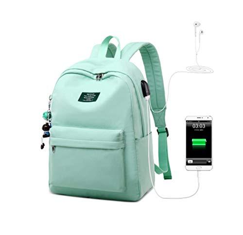 QXYOUNGB Mochila para portátil con impresión en Color sólido para niñas Colgante de Carga USB Mochilas Escolares para niños Mochila de Viaje Femenina (Blue,42.5 * 30.5 * 13.5cm)