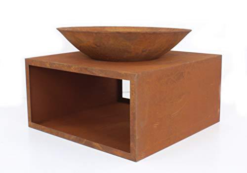 DARO DEKO Metall rost Tisch mit Feuerschale 70cm x 49cm