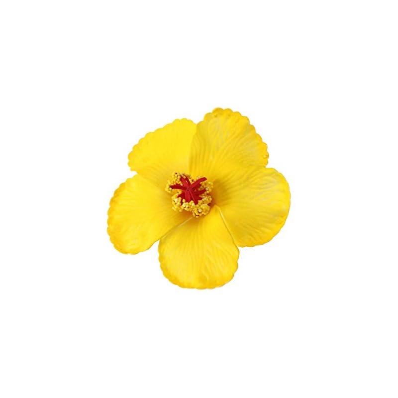 silk flower arrangements toyvian artificial flowers heads hibiscus hawaiian flowers for craft diy art project scrapbooking tabletop decoration tropical luau party favors supplies yellow
