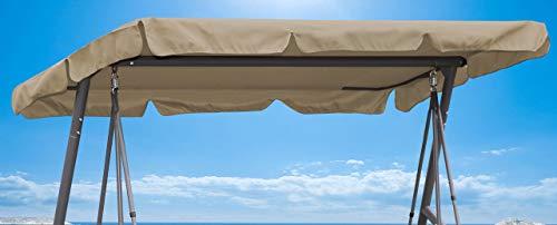 QUICK STAR Ersatzdach Gartenschaukel Universal 145x210 cm Hollywoodschaukel 3 Sitzer Sand UV 50 Ersatz Bezug Sonnendach Schaukel Dach