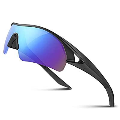 Polarized Sports Sunglasses for Men Women Youth Baseball Fishing Cycling Running Golf Motorcycle Tac Glasses UV400 (Black Blue)