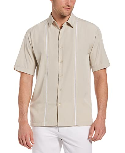 Cubavera Mens Contrast Insert Stitching Short Sleeve Woven Shirt,Silver Lining,XX-Large