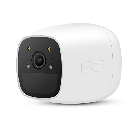 Vacos Akku Kamera mit Vollfarbiger Nachtsicht für den Außenbereich Solarbetriebene WLAN 1080P Überwachungskamera mit AI PIR-Erkennung 16 GB lokaler Cloud-Speicher Alexa