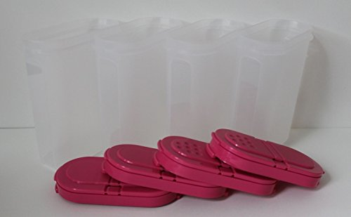 Tupperware Large Spice Shaker Conatiner Set of 4 Pink Punch