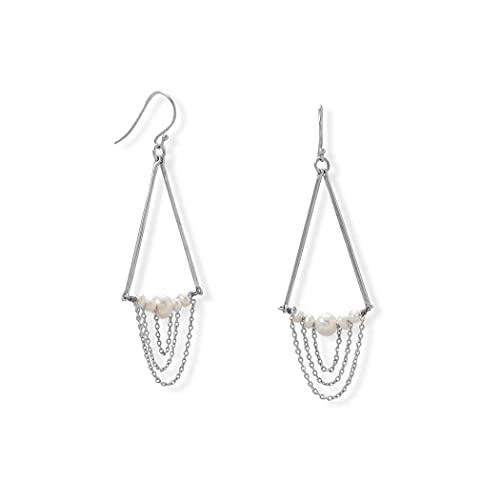 Pendientes de plata de ley 925 cultivados de agua dulce y cadena de barra, chapados en rodio con alambre francés Chan Jewelry Regalos para mujeres
