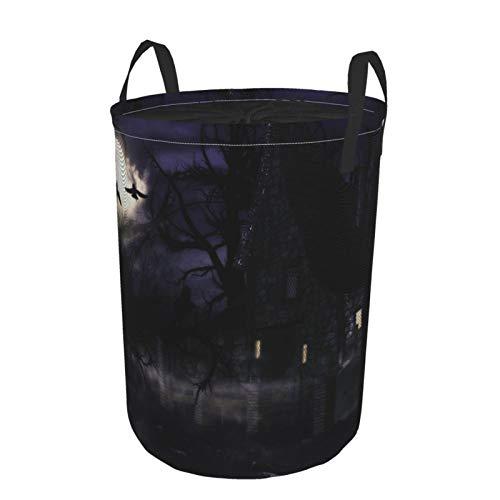 Zusammenklappbar Groß Wäschekorb für den Haushalt,Ein gruseliges Hexenhaus in der Nacht im Nachtwald,Lagerplatz Wasserdicht mit Kordelzug,14