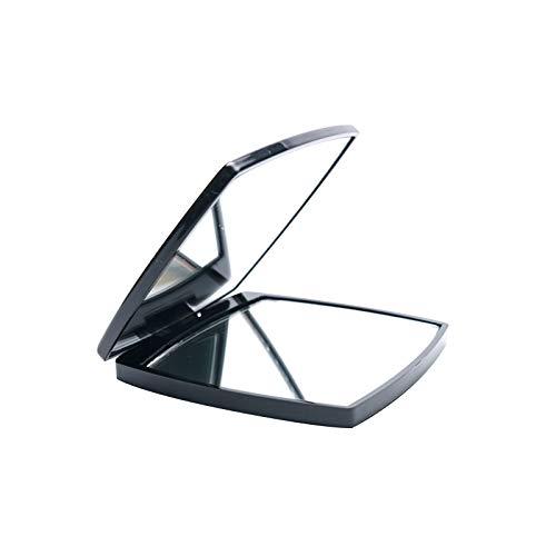 Quadratische Make-up-Spiegel, tragbare doppelseitige Klappspiegel 1x/2x Vergrößerung Handheld Taschenspiegel für Geldbörsen und Reisen (schwarz)