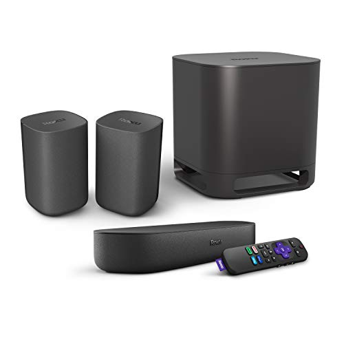 Roku Streambar, 4K/HD/HDR Streaming Media Player & Premium Audio All in One, Includes Roku Voice Remote, Released 2020 + Roku Wireless Subwoofer + Roku Wireless Speakers
