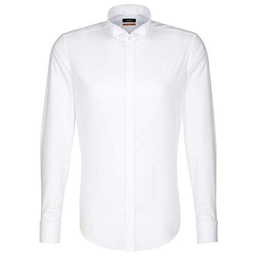Seidensticker Herren Smoking Hemd Slim Fit – Bügelfreies, schmales Hemd für Anzug, Smoking, Cut und Frack mit Kläppchen-Kragen – Langarm – 100% Baumwolle , Weiß (Weiß 01) , Kragenweite: 39 cm