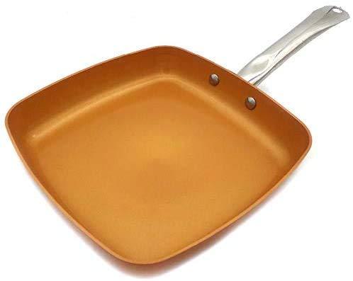 WSJ Poêle à frire en cuivre antiadhésif avec revêtement céramique et induction pour cuisson, four et lave-vaisselle