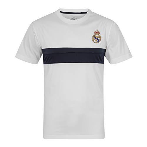 Real Madrid - Camiseta Oficial para Entrenamiento - para Hombre - Poliéster - Blanco - Franja Negra - Grande