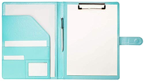 Clipboard Folder Padfolio Clipboard, Writing Portfolio Faux Leather Clipboard with Cover for Legal Pad Holder Letter Size A4 8.5 x 11 for Business Conference Notepad Clip Boards (Pale Turquoise)