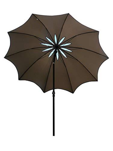 Maffei Art 29 Bea. Parasol de Design, Rond, diamètre cm. 280 avec spécial Coupe-Vent sculpté en Forme de Fleur. Breveté Fabriqué en Italie. Couleur Taupe.